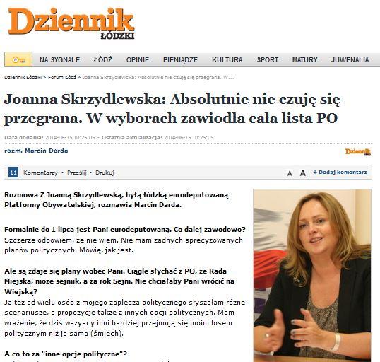Absolutnie nie czuję się przegrana - wywiad z Joanną Skrzydlewską dla Dziennika Łódzkiego
