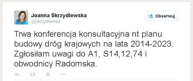 Wpis Joanny Skrzydlewskiej z Twittera