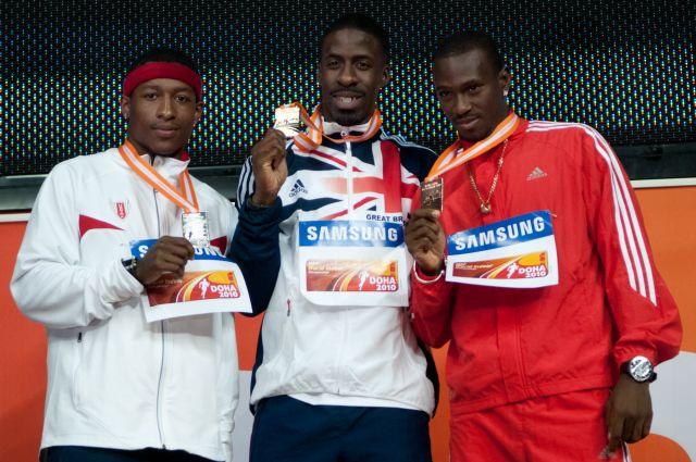 Pedro's Cup: Mike Rodgers (z lewej), Dwain Chambers, Daniel Bailey Doha 2010. Fot. Erik van Leeuwen (bron: Wikipedia)