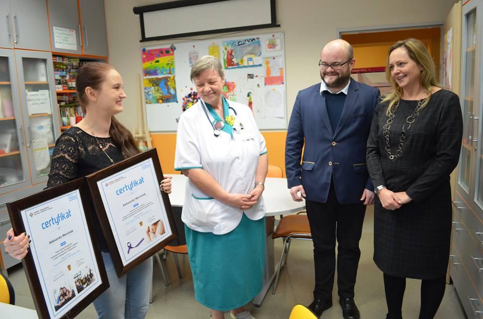 Certyfikat dla szpitala przy ul. Spornej